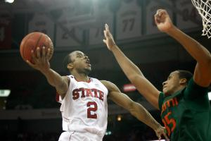 Lorenzo Brown (2) tries to get around a defender during the Miami vs. NC State game on February 29, 2012 in Raleigh, North Carolina.