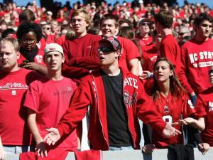 NC State fans question a call during the Virginia vs. NC State game on November 3, 2012 in Raleigh, North Carolina.