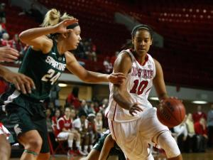 Ashley Eli (10) drives during the Michigan State vs. NC State game on November 29, 2012 in Raleigh, North Carolina.