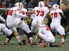 N.C. State kicker Niklas Sade (32) kicks a field goal at the Music City Bowl December 31, 2012. (Photo by Jack Tarr)