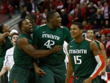 A Reggie Johnson basket in the final seconds lifted Miami past NC State Saturday at PNC Arena, 79-78.