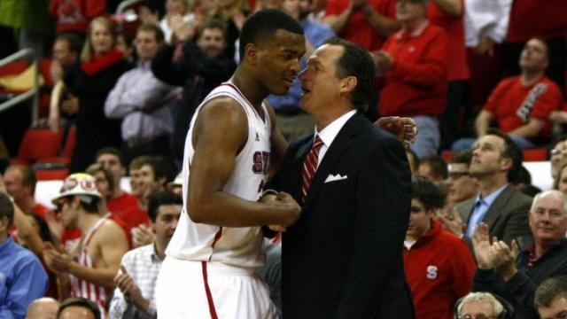 Coach Mark Gottfried congratulates T.J. Warren (24) during the Florida State vs. NC State game on February 19, 2013 in Raleigh, North Carolina.