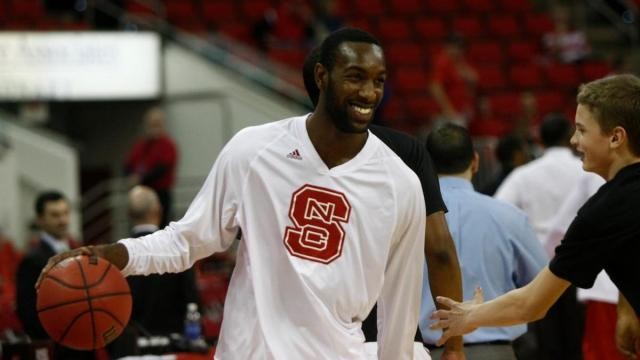 C.J. Leslie (5) warms up before the Boston College at NC State game on February 27, 2013 in Raleigh, NC.
