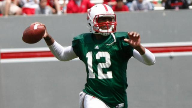 Jacoby Brissett (12) throws during the NC State Spring Game on April 20, 2013 in Raleigh, NC.