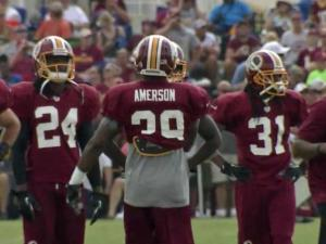 David Amerson is getting reps with the first team in Redskins camp.