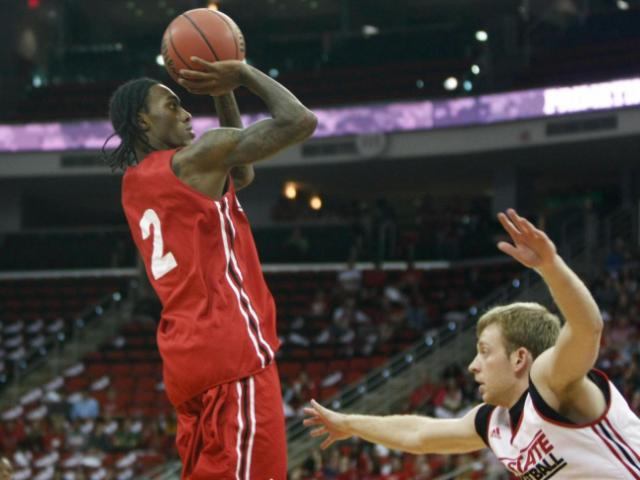 Anthony &quot;Cat&quot; Barber (2) takes a jumper during Primetime with the Pack at the PNC Arena in Raleigh, North Carolina on October 18, 2013.<br/>Photographer: Jerome Carpenter