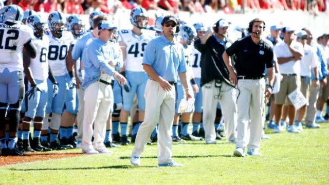 Coach Larry Fedora during the UNC vs. NC State game on November 2, 2013 in Raleigh, North Carolina.