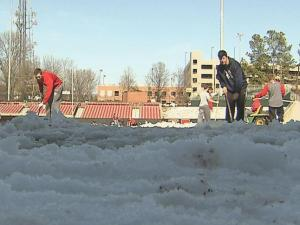Before any baseball of any kind could be played in Raleigh, the NC STate baseball team had to trade in their bats for shovels in preparation of a Saturday contest.