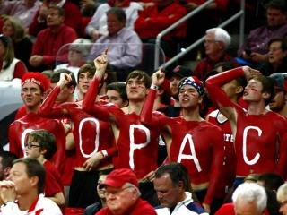 Fans cheer on the Pack during the first half of action. Notre Dame defeated NC State 81-78 in overtime on January 25, 2015 at the PNC Arena in Raleigh, North Carolina.  (Photo by: Jerome Carpenter/WRAL Contributor)