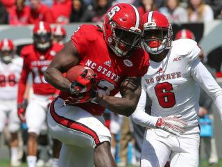 Johnny Frasier (22) of the North Carolina State Wolfpack. N.C. State Football Spring Game held in Raleigh N.C. on Saturday April 9. The RED team donimated the 2016 Spring Games as they won by 37 -0.