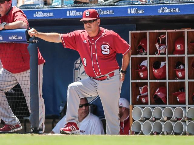 Head Coach Elliott Avent of N.C. State. Florida State University faces N.C. State in their opening game of the 2016 ACC Championship in Durham N.C. on Wednesday May 25. A 3 to 3 tie broke in the bottom of the 8th when FSU drove in 4 runs which lead to a 7 - 3 victory. (Chris Baird / WRAL Contributor).
