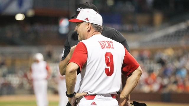 Head Coach Elliott Avent of N.C. State. NC State takes on #1 seed Miami on Thursday May 26, 2016 in Durham, N.C. in the ACC Championship series. Miami drove in 3 runs in the 9th to claim the victory by a score of 8 - 7. (Chris Baird / WRAL Contributor).