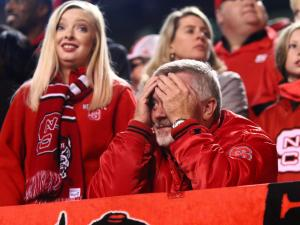 A Pack fan during the game. Florida State defeated NC State 24-20 on November 5, 2016 at Carter-Finley Stadium in Raleigh, North Carolina. (Jerome Carpenter/WRAL Contributor)