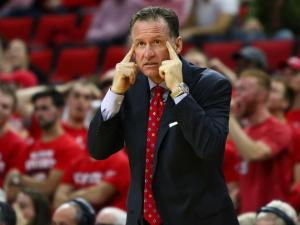 Coach Mark Gottfried tells his team to play smart down the stretch. NC State defeated Pittsburgh 79-74 at the PNC Arena in Raleigh, NC on January 17th, 2017. (Photo by: Jerome Carpenter/WRAL Contributor)