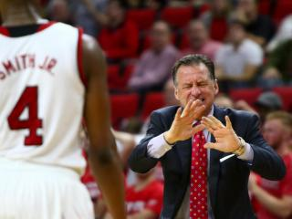 Coach Mark Gottfried tries to calm down Dennis Smith Jr. (4) after a foul. NC State defeated Pittsburgh 79-74 at the PNC Arena in Raleigh, NC on January 17th, 2017. (Photo by: Jerome Carpenter/WRAL Contributor)