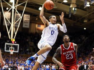 Duke's Jayson Tatum during the Blue Devils' game versus NC State on Monday night, January 23, 2017 at Cameron Indoor Stadium in Durham, NC.  NC State won 84-82.  (Photo by Jack Morton)