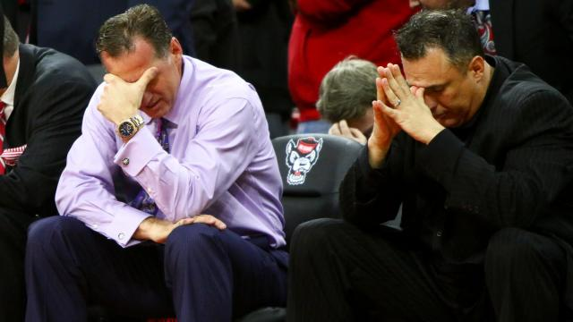 Coach Mark Gottfried reacts to a play. Syracuse gets by NC State in overtime, 100-93, at the PNC Arena in Raleigh, NC on February 1, 2017. (Photo by: Jerome Carpenter/WRAL Contributor)