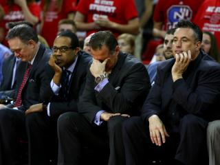 Coach Mark Gottfried and his staff look on in the closing seconds. Virginia defeated NC State 70-55 at the PNC Arena in Raleigh, NC on February 25, 2017. (Photo by: Jerome Carpenter/WRAL Contributor)
