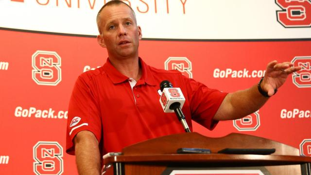 Coach Dave Doeren fields questions from the media. NC State Football hosted Meet the Pack Day at Carter-Finley Stadium in Raleigh on August 6, 2017. (Photo by: Jerome Carpenter/WRAL Contributor)