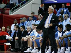North Carolina head coach Roy Williams signals to his players on February 20, 2008.