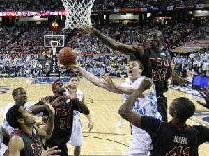 Tyler Hansbrough drives to the basket in the UNC Tar Heels vs. Florida State ACC semi finals game Saturday, March 14, 2009 in Atlanta's Georgia Dome. Heels lost 73 to 70.