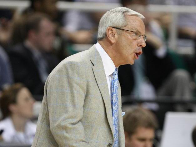 Coach Williams calls out a play during the UNC vs. Radford round one game of the NCAA tournament in Greensboro, Thursday, March 19, 2009.