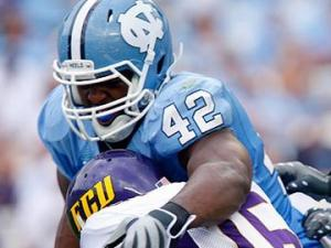 Robert Quinn of North Carolina sacks Patrick Pinkney of East Carolina on September 19, 2009.