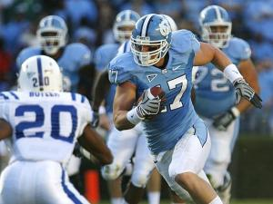North Carolina tight end Zack Pianalto hauls in a pass from T.J. Yates against Duke on November 7, 2009.