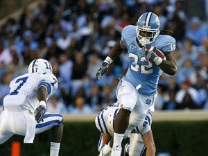 Ryan Houston of North Carolina rushes the ball against Duke on November 7, 2009.