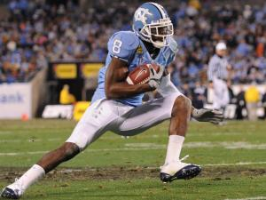 Greg Little looks for extra yards during the Meineke Car Care Bowl (UNC vs. Pittsburgh), Saturday, December 26, 2009 at Bank of America Stadium.  (Photo by: Will Bratton)