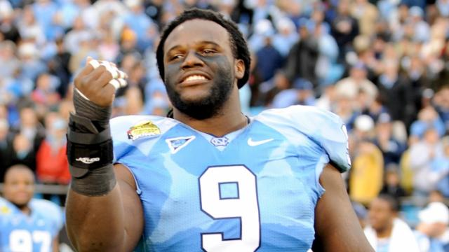 Marvin Austin has a little fun during the Meineke Car Care Bowl (UNC vs. Pittsburgh), Saturday, December 26, 2009 at Bank of America Stadium.  (Photo by: Will Bratton)