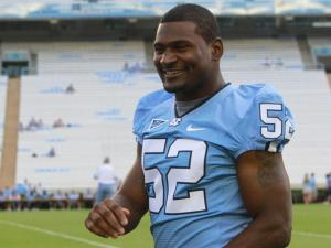 "# 52 Quan Sturdivant at the ""Meet the Heels"" autographing event at Kenan Stadium on Saturday, Aug. 28. (photo by Will Okun)"