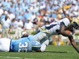 Herman Davidson (35) makes a tackle on Anthony Allen (18) during the UNC vs. Georgia Tech game, Saturday, Sept. 18, 2010 at Kenan Stadium in Chapel Hill.
