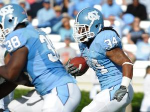 Tailback Johnny White runs with the ball during the North Carolina Tar Heels vs. William & Mary Tribe game inside Kenan Stadium in Chapel Hill, N.C. on Saturday, October 30, 2010.