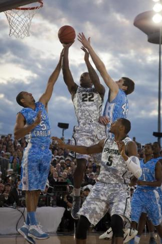 The UNC Tar Heels beat the Michigan State Spartans 67-55 during the inaguaral carrier classic on Friday, November 11, 2011 on board the U.S.S. Carl Vinson in Coronado, CA.
