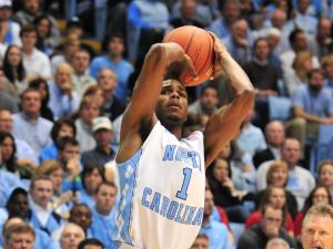 Dexter Strickland (1) takes a shot during the North Carolina Tar Heels vs. Wisconsin Badgers basketball game in Chapel Hill, N.C., Wednesday, November 30, 2011.