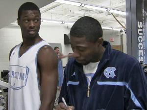 Former Tar Heel players Jackie Manuel and Bobby Frasor are back on the UNC basketball staff, helping the current team to learn what they already know.
