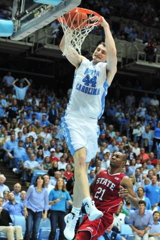 Tyler Zeller (44) dunks during the North Carolina Tar Heels vs. North Carolina State Wolfpack NCAA basketball game in Chapel Hill, N.C. Thursday, January 26, 2012.
