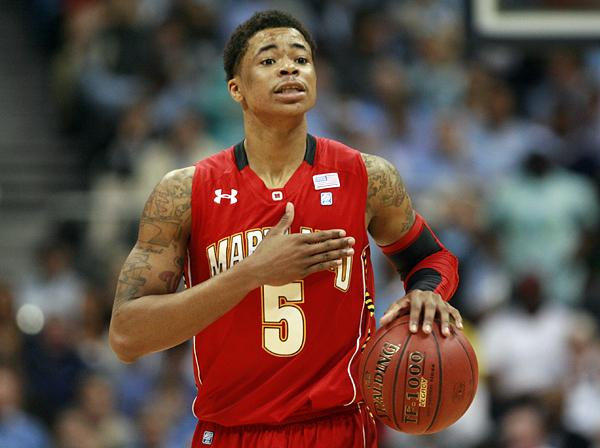 Nick Faust of Maryland brings the ball upcourt against North Carolina during the second round of the ACC Tournament in Atlanta on March 9, 2012. <br/>Photographer: Jeff Reeves