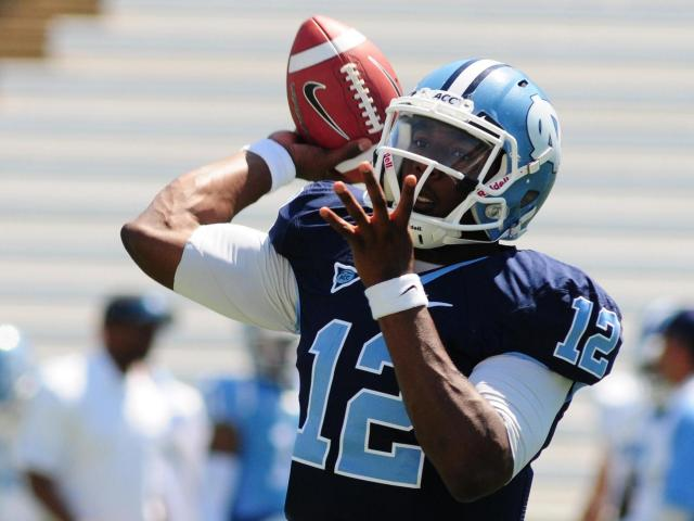 Marquise Williams (12) during the North Carolina Tar Heels spring football game in Chapel Hill, N.C. Saturday April 14, 2012.<br/>Photographer: Will Bratton