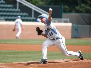Hobbs Johnson pitches during the Cornell vs. UNC regional game on June 1, 2012 in Chapel Hill, NC.