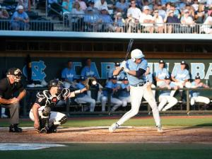 Michael Russell takes a strike during the St. John's vs. UNC regional game on June 3, 2012 in Chapel Hill, NC.