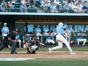 Colin Moran connects for a hit during the St. John's vs. UNC regional game on June 3, 2012 in Chapel Hill, NC.