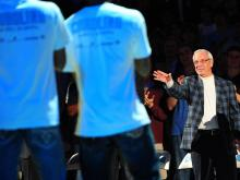 In his return to the basketball court after a health scare, Roy Williams joined in with the team in the dance off  during Late Night with Roy.