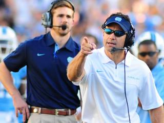 UNC head coach Larry Fedora during the University of North Carolina vs. Georgia Tech NCAA football game, Saturday, November 10, 2012 in Chapel Hill, NC.