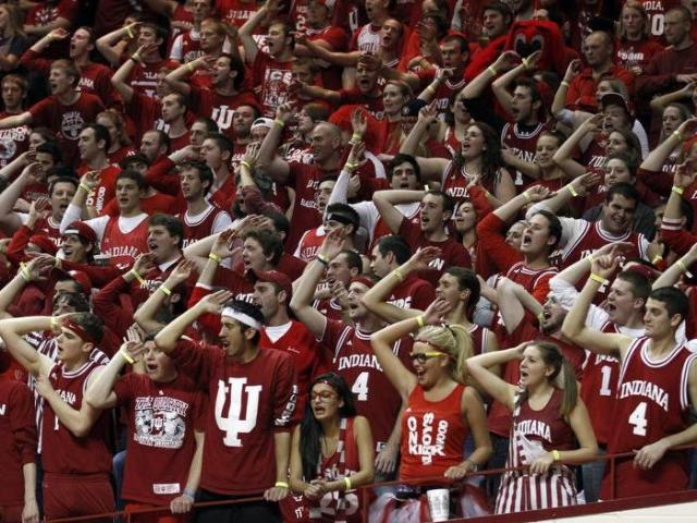 Hoosier fans chant &quot;air ball&quot; during the game. The North Carolina Tar Heels traveled to Bloomington, IN to take on the Indiana Hoosiers in Assembly Hall on Tuesday, November 27, 2012. Indiana won the game 83-59.<br/>Photographer: Sam Riche