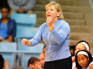 UNC head coach Sylvia Hatchell during the ACC/Big Ten Challenge NCAA women's basketball game between the North Carolina Tar Heels and the Ohio State Buckeyes, Wednesday, November 28, 2012 at Carmichael Arena in Chapel Hill, NC.