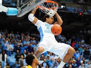 James Michael McAdoo (43) throws down a dunk during the North Carolina Tar Heels vs. East Carolina Pirates NCAA basketball game, Saturday, December 15, 2012 in Chapel Hill, NC.
