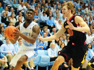 Reggie Bullock (35) drives to the basket during the North Carolina Tar Heels vs. Maryland Terrapins NCAA basketball game, Saturday, January 19, 2013 in Chapel Hill, NC.