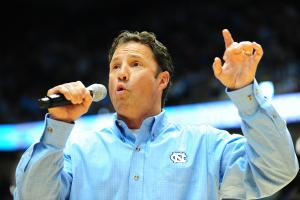 UNC head football coach Larry Fedora during the North Carolina Tar Heels vs. Maryland Terrapins NCAA basketball game, Saturday, January 19, 2013 in Chapel Hill, NC.